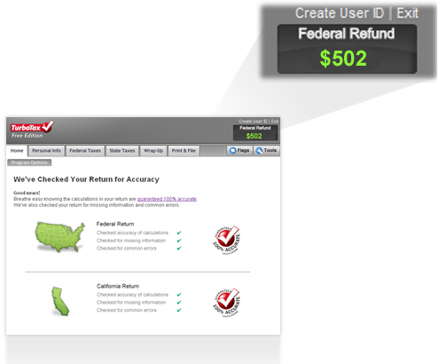 TurboTax Free Federal refund screenshot
