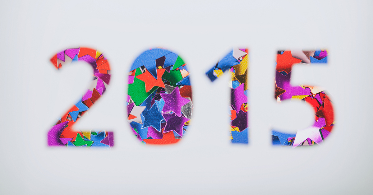 Confetti shaped into 2015