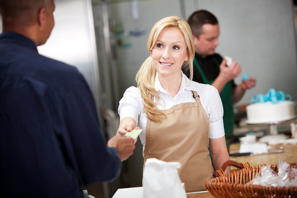 Handing cashier credit card