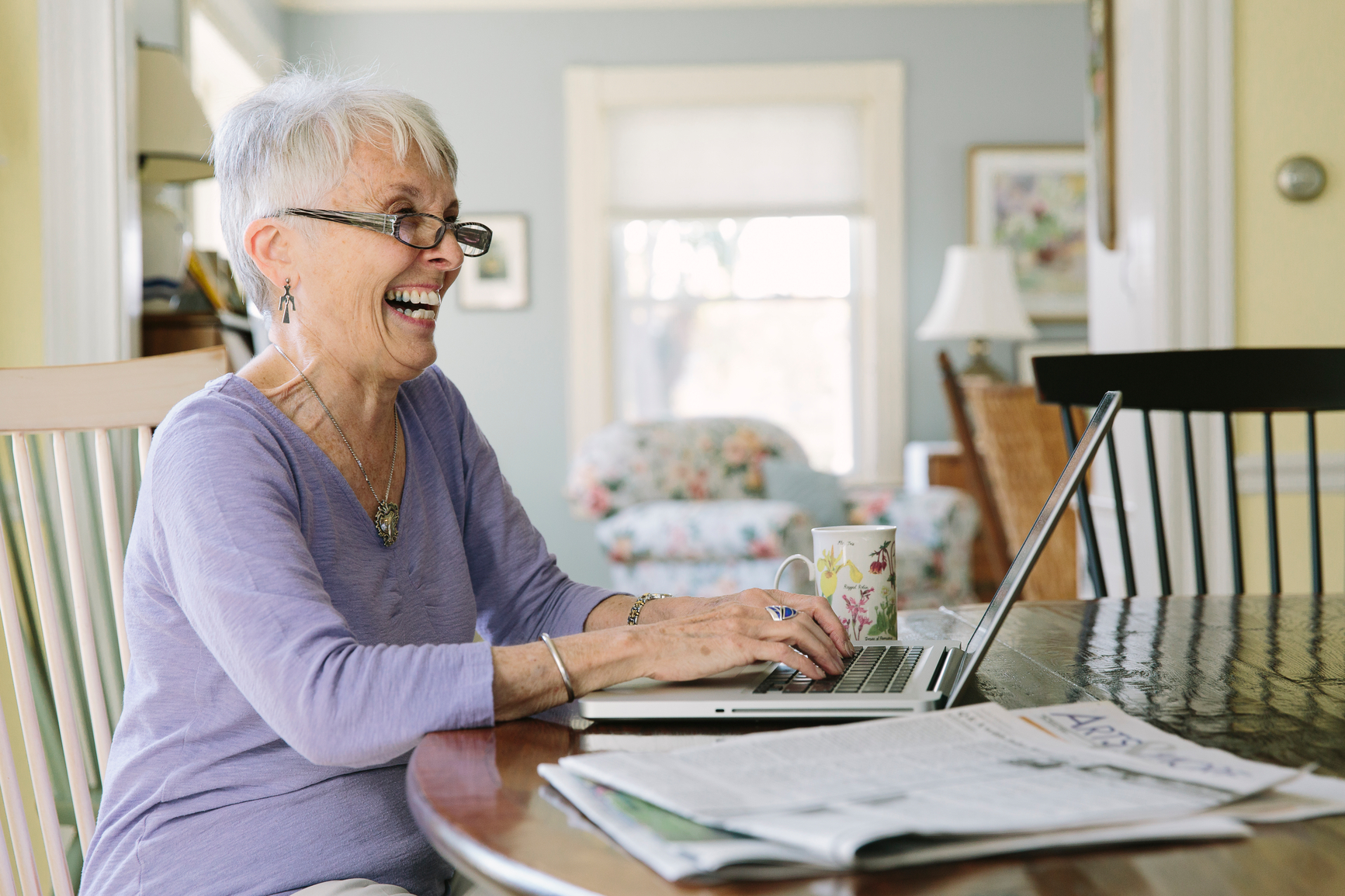 Senior woman using laptop computer