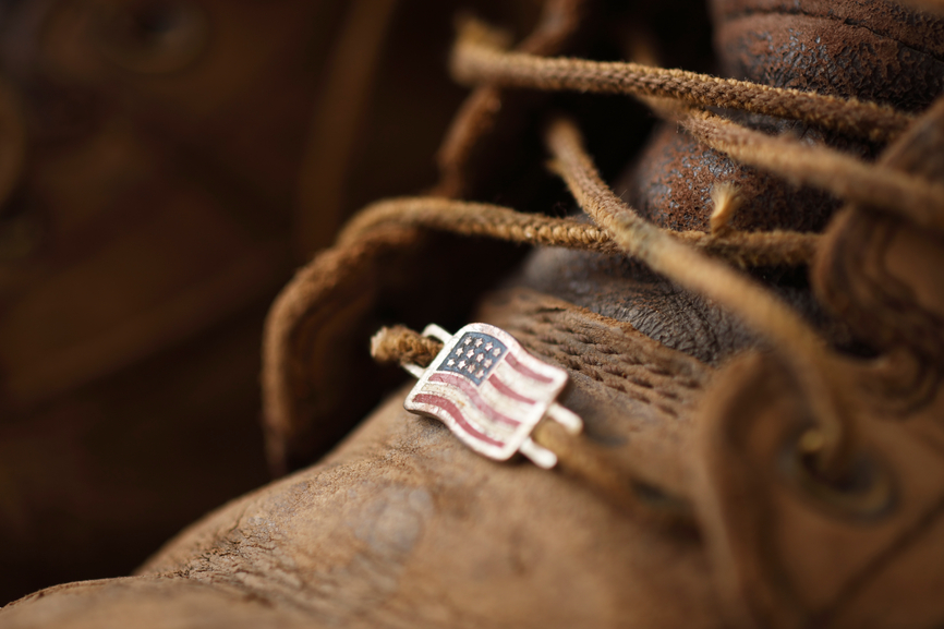 work boot with american flag pin