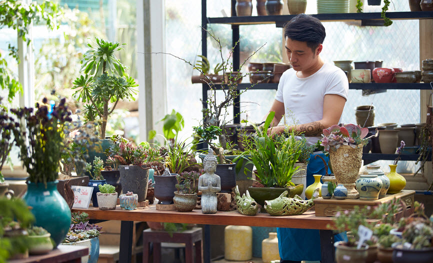 Young male florist busy at his shop
