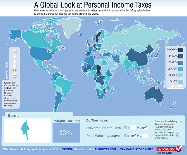 A Global Look at Personal Income Taxes - Interactive Infographic by TurboTax