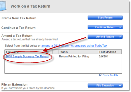 Amending your 2010 TurboTax Business return