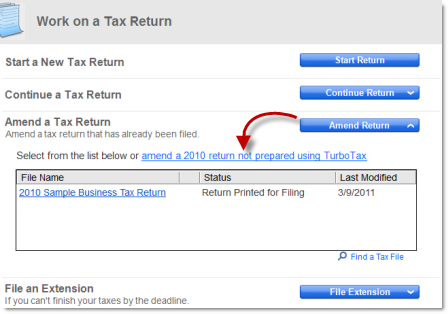 Amending a business return not prepared in TurboTax