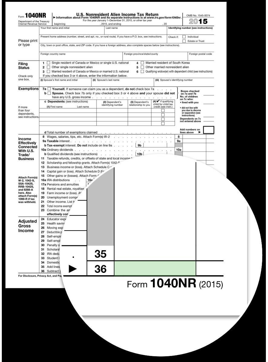 Form 1040nr €� Line 36